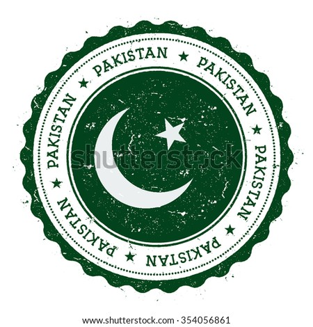 Grunge rubber stamp with Pakistan flag. Vintage travel stamp with circular text, stars and country flag inside it, vector illustration - stock vector