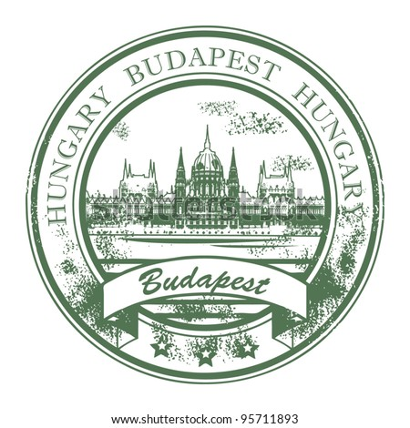 Grunge rubber stamp with Parliament building and the words Budapest, Hungary inside, vector illustration