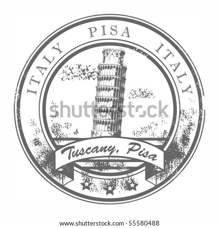 Grunge rubber stamp with Pisa leaning tower and the word Pisa, Italy inside, vector illustration