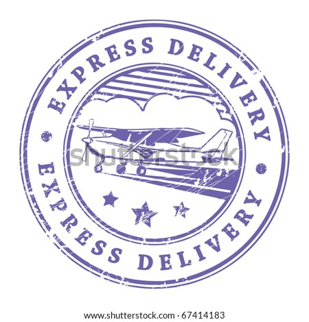 Grunge rubber stamp with plane in the middle and the text express delivery written inside the stamp, vector illustration - stock vector