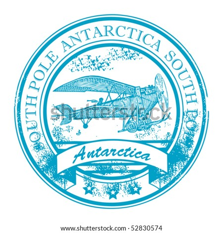 Grunge rubber stamp with retro Airplane and the word Antarctica, South Pole inside, vector illustration - stock vector