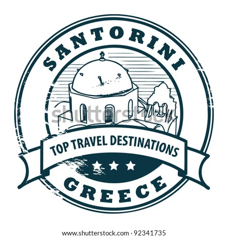 Grunge rubber stamp with Santorini, Greece, vector illustration