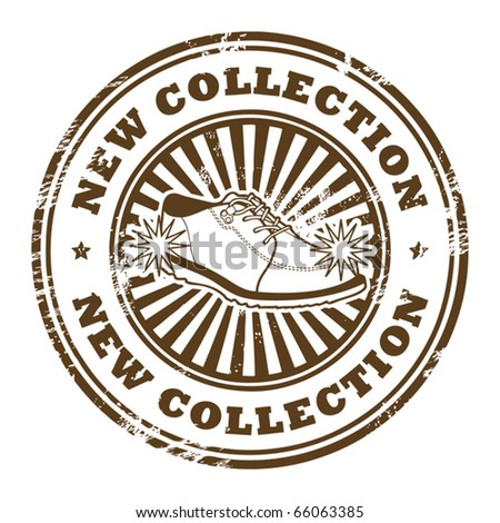 Grunge rubber stamp with shoe and the word New Collection inside, vector illustration