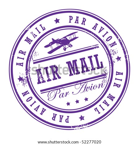 Grunge rubber stamp with small stars and the word Air Mail inside, vector illustration