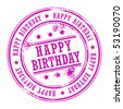 Grunge rubber stamp with small stars and the word Happy Birthday inside, vector illustration - stock vector