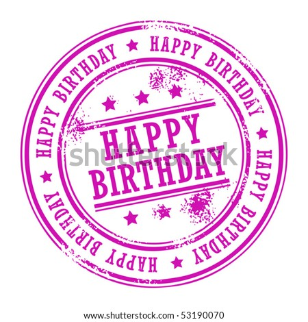 Grunge rubber stamp with small stars and the word Happy Birthday inside, vector illustration