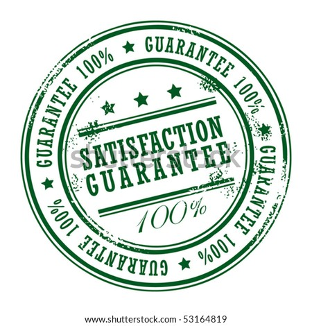 Grunge rubber stamp with small stars and the word Satisfaction Guarantee inside, vector illustration - stock vector