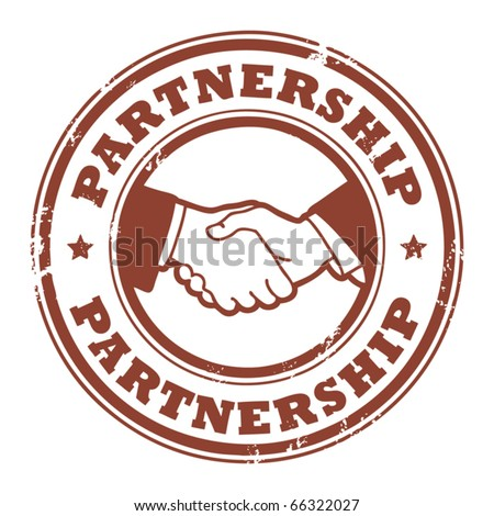 Grunge rubber stamp with small stars, hands and the word Partnership inside, vector illustration - stock vector