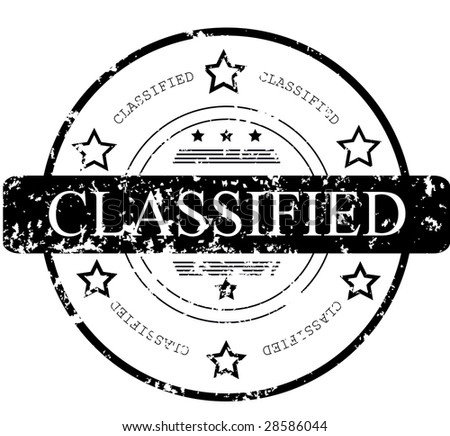 Grunge rubber stamp with stars and the word classified - stock vector