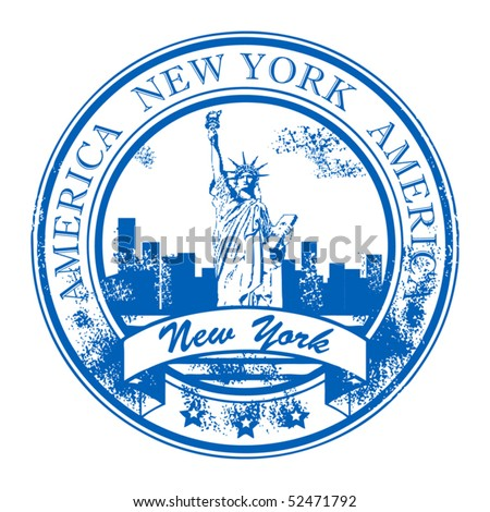Grunge rubber stamp with Statue of Liberty and the word New York, America inside, vector illustration - stock vector