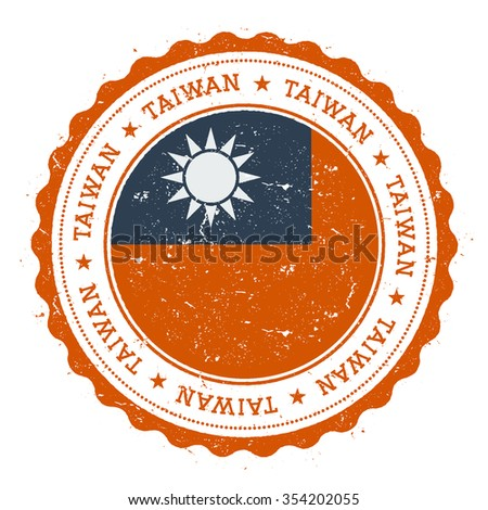 Grunge rubber stamp with Taiwan flag. Vintage travel stamp with circular text, stars and country flag inside it, vector illustration - stock vector