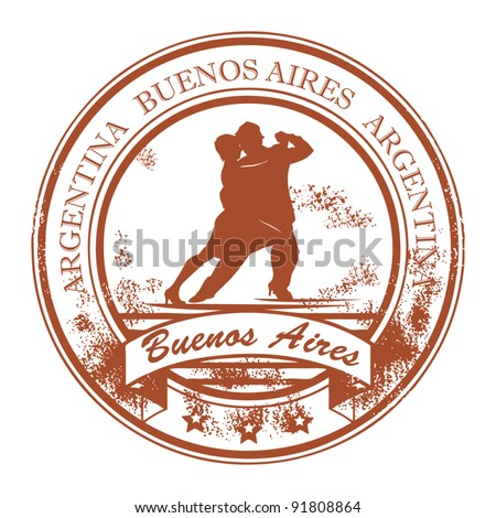 Grunge rubber stamp with tango dancers and the words Buenos Aires, Argentina inside, vector illustration