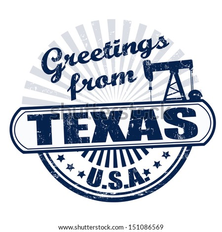 Grunge rubber stamp with text Greetings from Texas , vector illustration - stock vector