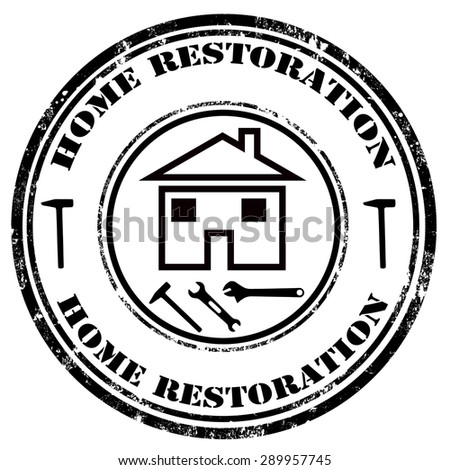 Grunge rubber stamp with text Home Restoration,vector illustration - stock vector