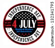 Grunge rubber stamp with text 4 July Independence Day, vector illustration - stock vector