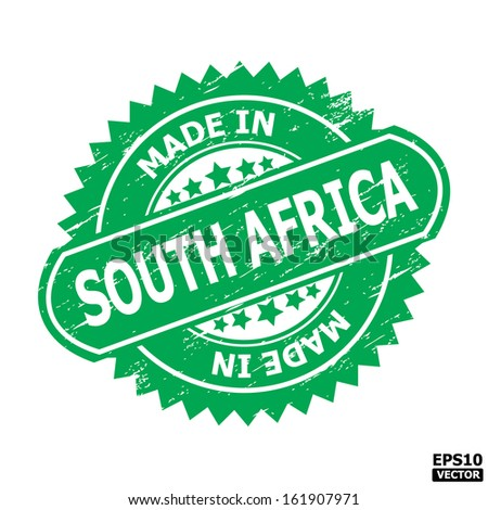 "Grunge rubber stamp  with text "" MADE IN SOUTH AFRICA "" present by green color for business or e-commerce. eps10 vector"