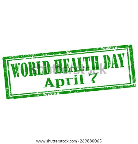 Grunge rubber stamp with text World Health Day,vector illustration - stock vector