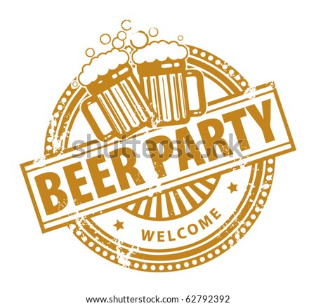 Grunge rubber stamp, with the Beer Mugs and text Beer Party written inside, vector illustration - stock vector