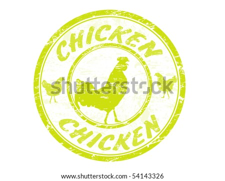 Grunge rubber stamp with the cock and the text chicken written inside the stamp