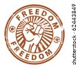 Grunge rubber stamp with the fist and word freedom written inside, vector illustration - stock vector