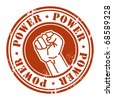 Grunge rubber stamp with the fist and word Power written inside, vector illustration - stock vector