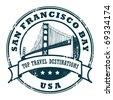 Grunge rubber stamp with the Golden Gate Bridge, vector illustration - stock vector