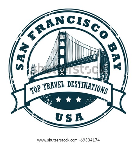 Grunge rubber stamp with the Golden Gate Bridge, vector illustration - stock vector