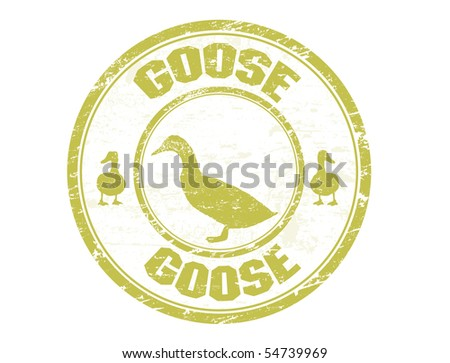 Grunge rubber stamp with the goose shape and the text goose written inside the stamp