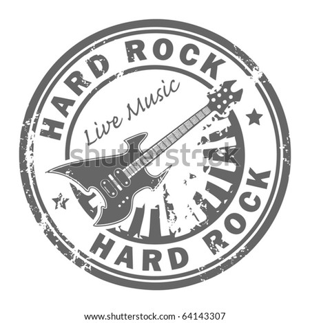 Grunge rubber stamp with the guitar and the words Hard Rock written inside the stamp, vector illustration - stock vector