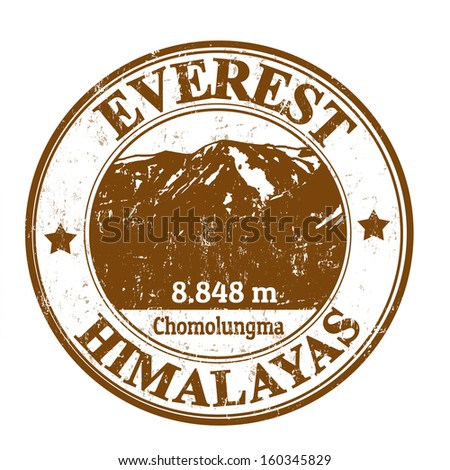 Grunge rubber stamp with the Mount Everest, vector illustration - stock vector