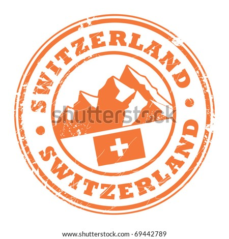 Grunge rubber stamp with the mountains and flag of Switzerland, vector illustration - stock vector