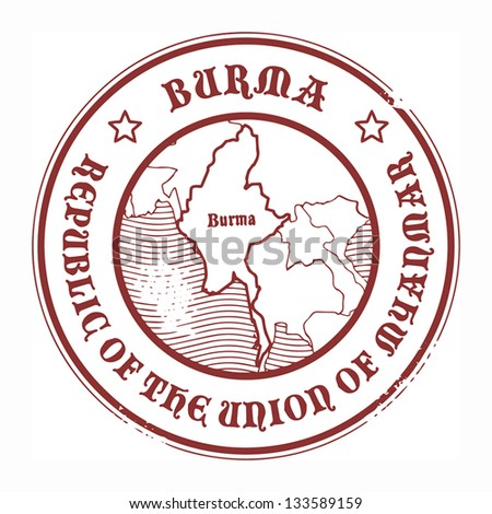 Grunge rubber stamp with the name and map of Burma, vector illustration - stock vector