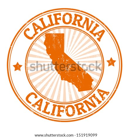 Grunge rubber stamp with the name and map of California, vector illustration - stock vector