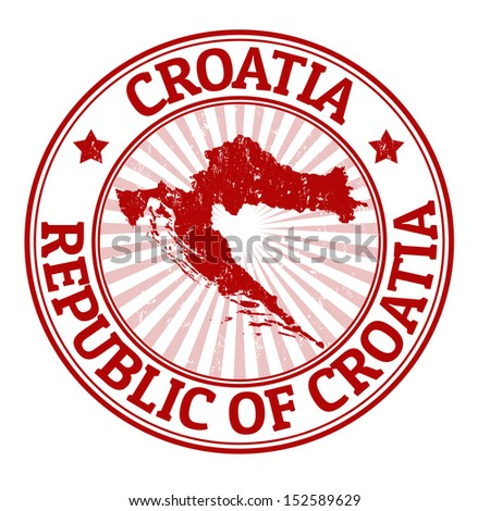Grunge rubber stamp with the name and map of Croatia, vector illustration - stock vector