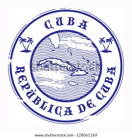 Grunge rubber stamp with the name and map of Cuba, vector illustration - stock vector