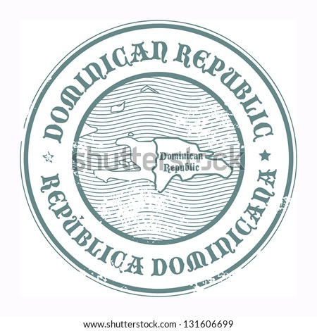 Grunge rubber stamp with the name and map of Dominican Republic, vector illustration
