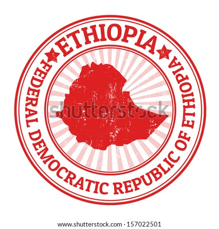 Grunge rubber stamp with the name and map of Ethiopia, vector illustration - stock vector