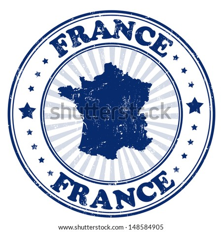 Grunge rubber stamp with the name and map of France, vector illustration - stock vector