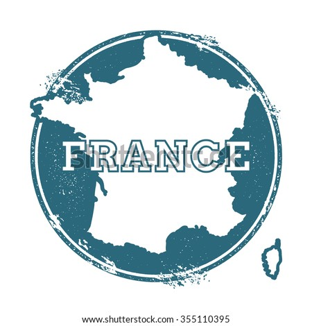 Grunge rubber stamp with the name and map of France, vector illustration. Can be used as insignia, logotype, label or badge vector design element. - stock vector
