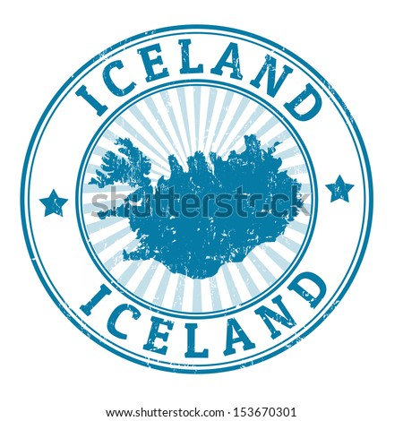 Grunge rubber stamp with the name and map of Iceland, vector illustration
