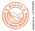 Grunge rubber stamp with the name and map of Mexico, vector illustration - stock photo