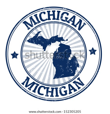 Grunge rubber stamp with the name and map of Michigan, vector illustration - stock vector