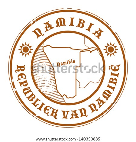 Grunge rubber stamp with the name and map of Namibia, vector illustration - stock vector