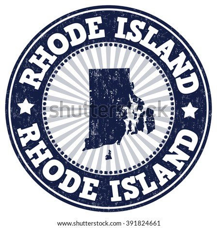 Grunge rubber stamp with the name and map of Rhode Island, vector illustration
