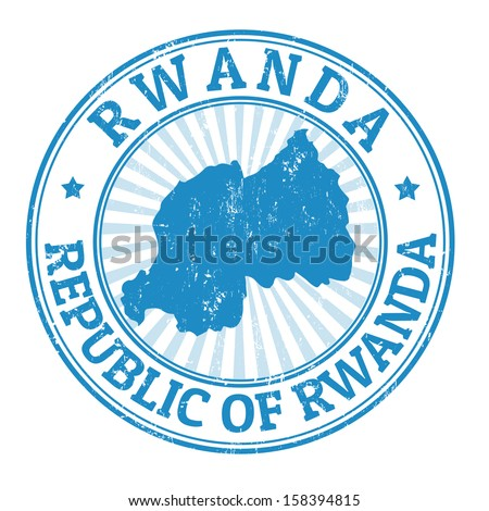 Grunge rubber stamp with the name and map of Rwanda, vector illustration - stock vector