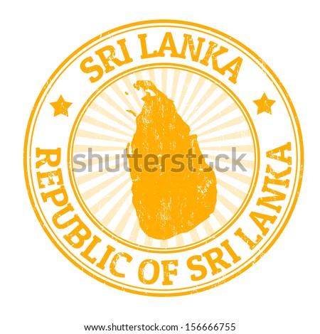 Grunge rubber stamp with the name and map of Sri Lanka, vector illustration - stock vector