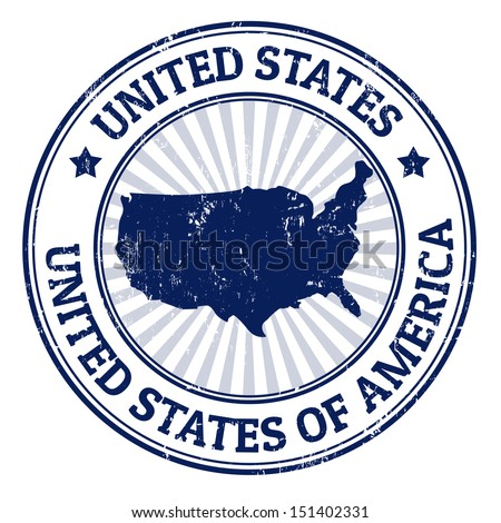 Grunge rubber stamp with the name and map of United States of America, vector illustration - stock vector