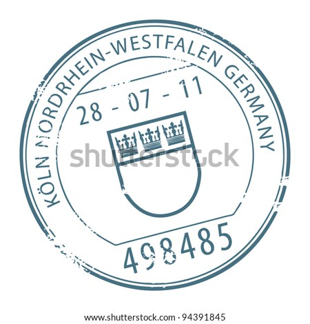 Grunge rubber stamp with the name of Koln, Germany written inside the stamp, vector illustration - stock vector