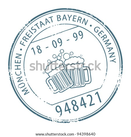 Grunge rubber stamp with the name of Munchen, Germany written inside the stamp, vector illustration - stock vector