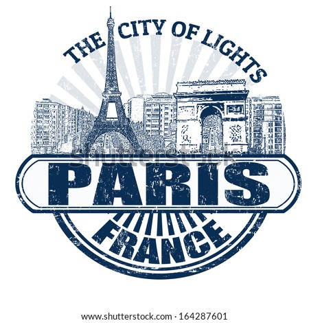 Grunge rubber stamp with the name of Paris ( The City of Lights), France written inside, vector illustration - stock vector